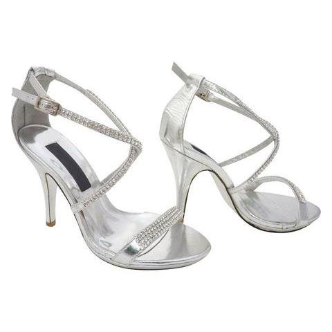 super bon marché femme femme argentées sandales mariage